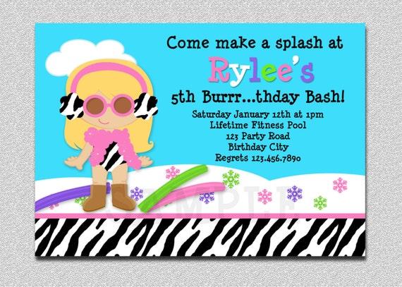 Items similar to Winter Pool Party Birthday Invitation Winter Pool ...