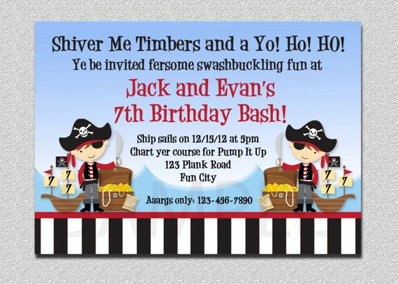 Pirate Birthday Invitation Pirate Party Birthday Invitation – Free Pirate Party Invitations