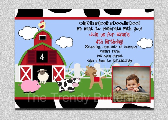 Farm Animals Birthday Invitation Farm Animal Barnyard Birthday Party