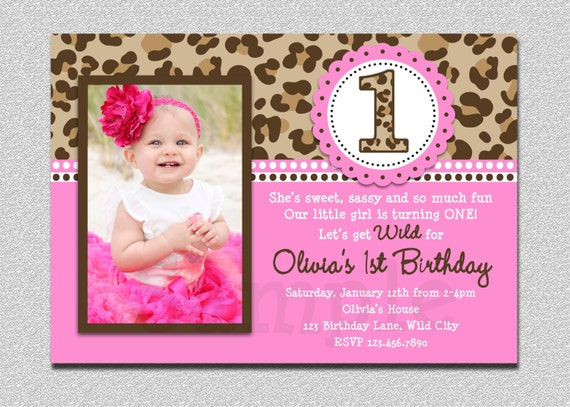 Leopard Birthday Invitation 1st Birthday Party Invitation – Little Girl Party Invitations