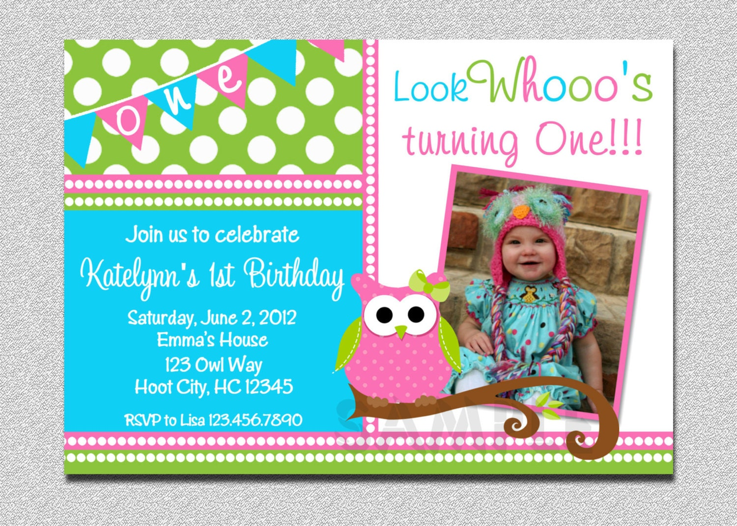 Owl Birthday Invitation Pink and Green Owl Birthday Party – Owl Party Invitations