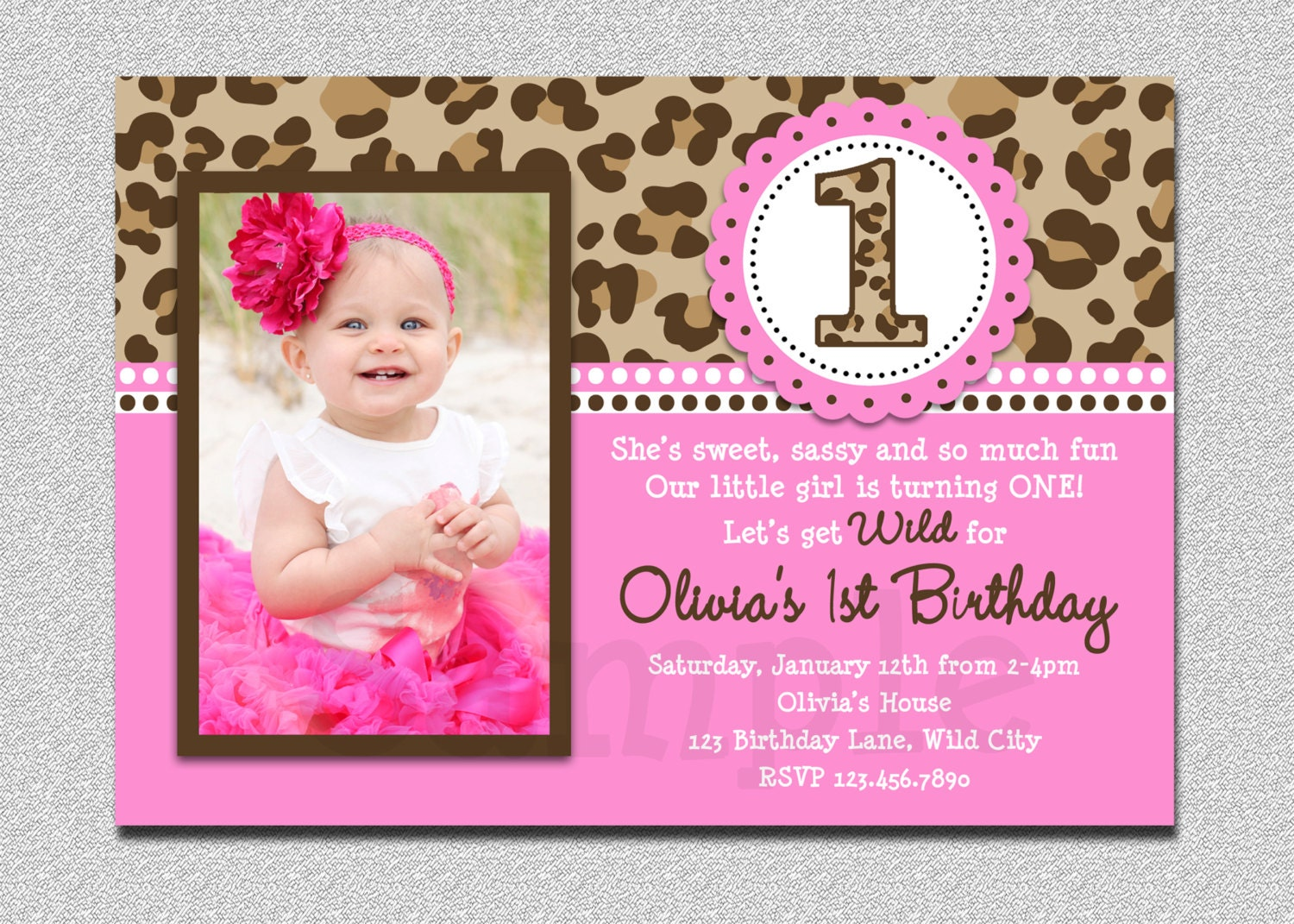 Leopard Birthday Invitation 1st Birthday Party Invitation – Pink 1st Birthday Invitations