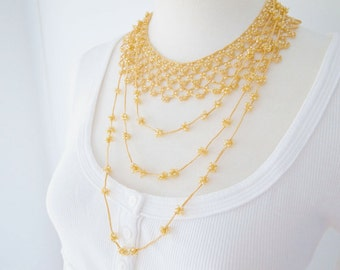 Crochet Lace Jewelry (Byzance III) Statement Necklace, Fiber Art Jewelry,Crochet Necklace
