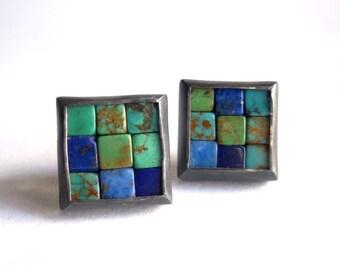 Mosaic Stud Earrings - Lapis Lazuli Turquoise Silver Earrings - Mosaic Earrings - Square Earrings - Blue Gemstone Earrings - Blue Ear Studs