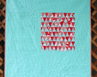 Modern Red, Pink, and Aqua Triangle Quilt - Baby Girl Quilt