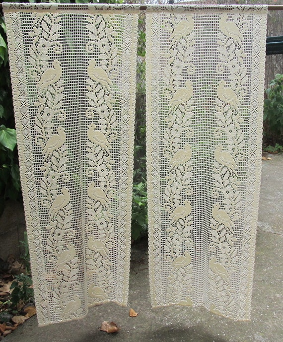 ecru lace crocheted curtains french lace panels
