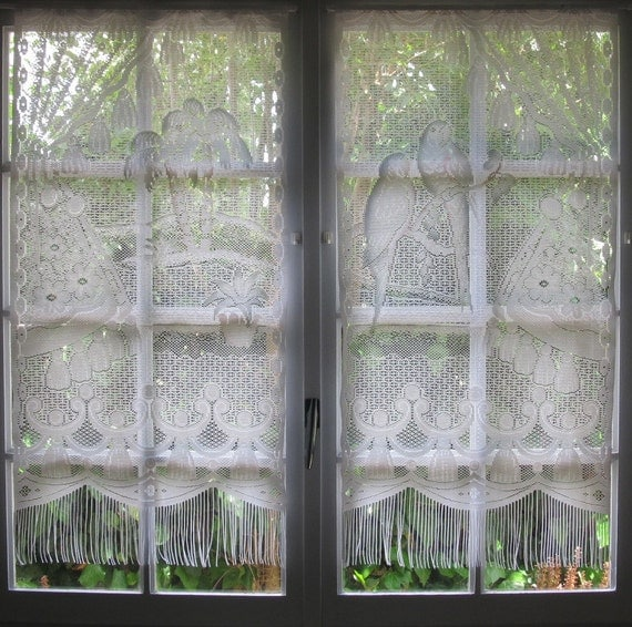 Lace Curtains Parrots Amp Palm Tree Curtains Tropical Curtains