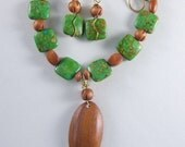 On SALE!!  Green Stone & Wood Bead and Pendant Necklace, Earrings, and Bracelet Set