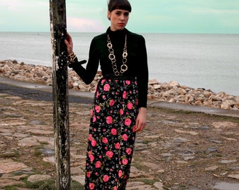 Rosie, French Vintage, 1970s Pink and Black Floral Print Maxi Dress with Long Sleeves, from Paris