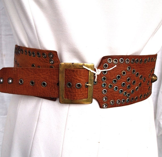 Kathie, French Vintage, Tan Brass Studded Leather Waist Belt from Paris