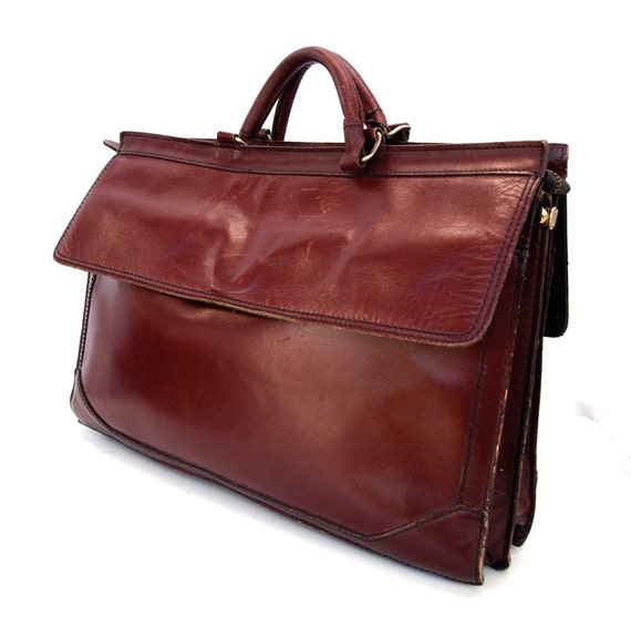 Lana, French Vintage, 1970s Ox-Blood Leather Satchel, Briefcase Handbag from Paris