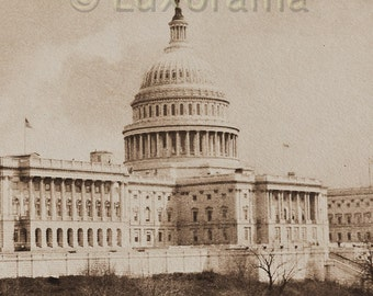 carbon print of the usa capital usa american government  building dome senate  a.w. elson sepia print