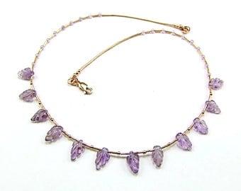 Carved Lilac Amethyst Leaf Gold Necklace - N232