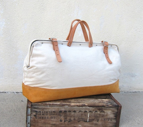Large Off White Canvas Tool Bag w/Tan Leather Suede Trim