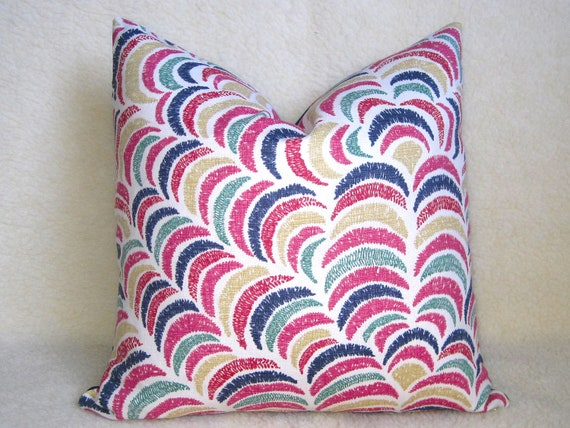 John Robshaw Textiles Designer Pillow - 18 inch - Rainbow - Pink - Navy - Gold - Teal - Red Orange - Decorative Pillow - Colorful Pillow