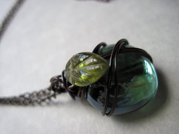 Talisman of the Weald. Wire Wrapped. Elemental. Glass. Copper. Earthy. Necklace.