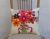 Flower power from the 70s, vintage pillow with pink, green, orange crewel embroidery, nostalgic gift--includes pillow form
