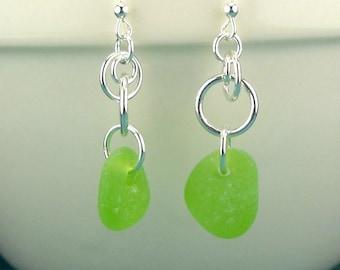 GENUINE Green Seaglass Earrings Sterling Silver Infinity Design