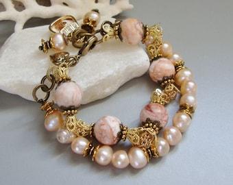 Peach Pearl Agate Bracelet, Chunky double strand Bracelet... JUST PEACHY