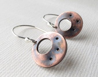Copper Earrings - Mixed Metals, Copper Circle Earrings, Modern, Industrial, Copper Jewelry