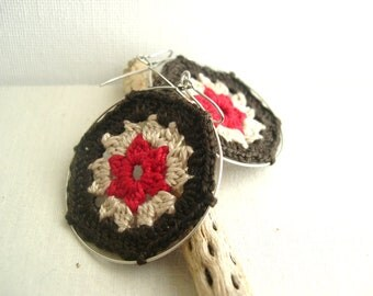 Granny Hexagon Dark Brown - Big hoop earrings - Cream Red Earrings - Fashion Lace Earrings - Retro Style - Vintage earrings - Colorful