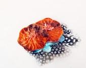 orange velvet flower hair clip with black white feather and turquoise: quinn
