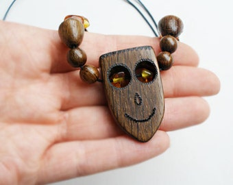 """Burned wood pyrography necklace with baltic amber, sliding knots' necklace, face necklace, human necklace, one of a kind - 17.7"""" to 26.8"""""""