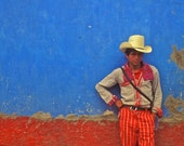 Street Art Photography, Red, White, Blue, Primary Colors, Cowboy, tough, Male, Guatemala, Fine Art Photography, 8x10 Print
