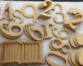 Random Wooden Numbers & Letters - 54 Piece Set - Craft Supplies