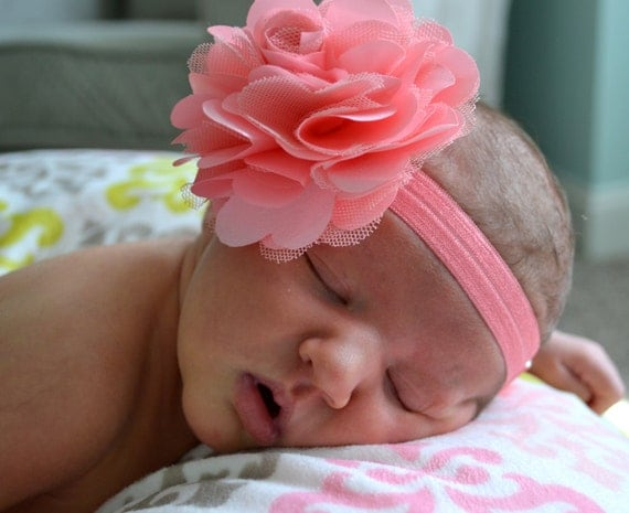 Coral Flower Headband, Baby Headband, Toddler Headband, Flower Hair Clip, Newborn Headband, Photo Prop, Infant Headband, Girl Headband, 05