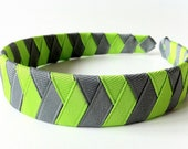 Chevron Headband Woven:  inch wide hand woven from grey and green ribbon