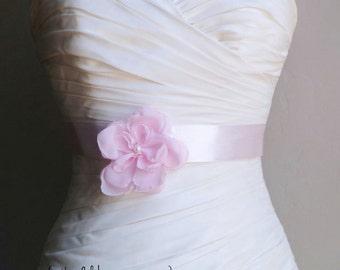"Pink Girl Sash, Wedding Sash Belt, Bridal Accessories Handmade Light Pink Flower on 1.5"" Pink Bridal Sash Belt  JOSIE SALE"