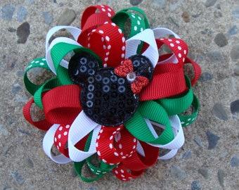 ONE Christmas Disney Hair Bow Mickey Mouse Hair Bow Minnie Mouse Hair Bow Loopy Flower Hair Bow