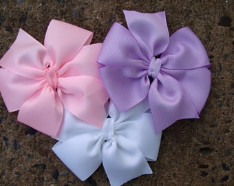 Princess Collection White Light Pink and Lavender 4 inch Hair Bows Set