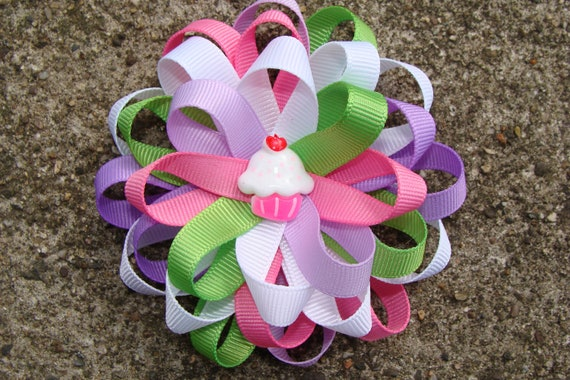Birthday Cupcake Hair Bow Boutique Hair Bow Hair Clip to match a dress