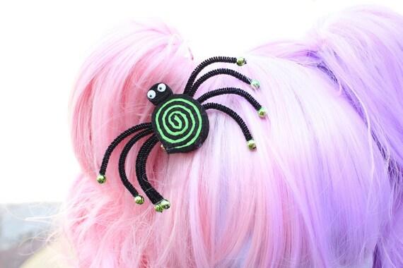 Creepy Cute Green Lollipop Spider Hair Clip