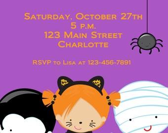 Halloween costume party invitation --   Halloween costume birthday party invitation -- You print or I print