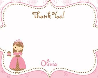 Tea party Birthday Party Thank you note --  tea party princess  thank you --  you print or I print