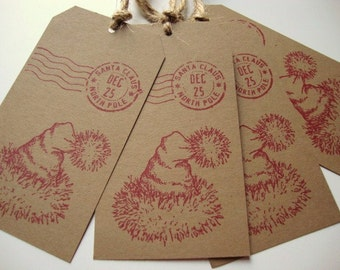 Christmas Gift Tags Santa Claus North Pole Postmark