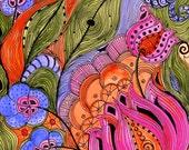 Fine Art Print  LOTUS -orange pink green ink and acrylic painting