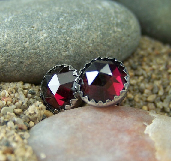 8mm Rose Cut Garnets in Serrated Bezel Sterling Silver Post Earrings