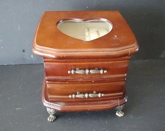Vintage Jewelry Box Wooden Brass Legs Cream  Interior Sweet
