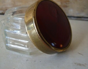 Vintage Glass Powder Container Red an Gold Art Deco Retro Feel