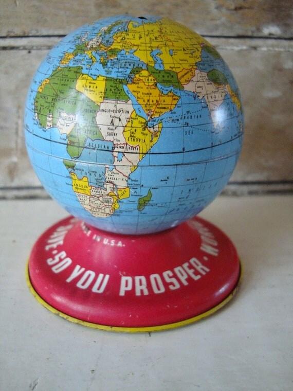 Vintage Globe Ohio Art  Small Bank Tin
