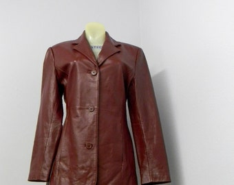Ladies fitted leather jkt Mint szS B34 W30 H38