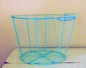 Wire egg basket- turquoise, newborn photography prop- ready to ship