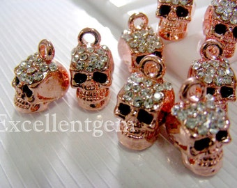 5pcs Rose Gold tone with Crystal Rhinestones charm in skull shape,