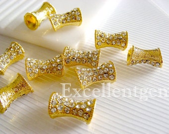 10 Gold plated,Tubular Crystal Rhinestones SPACERS beads