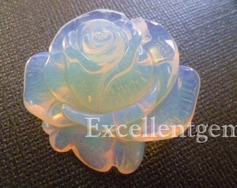 Hand-carved Opalet flower pendant-36x32mm-1pc