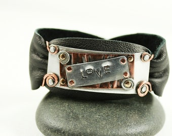 Personalized Soft Leather Cuff of Mixed Metals